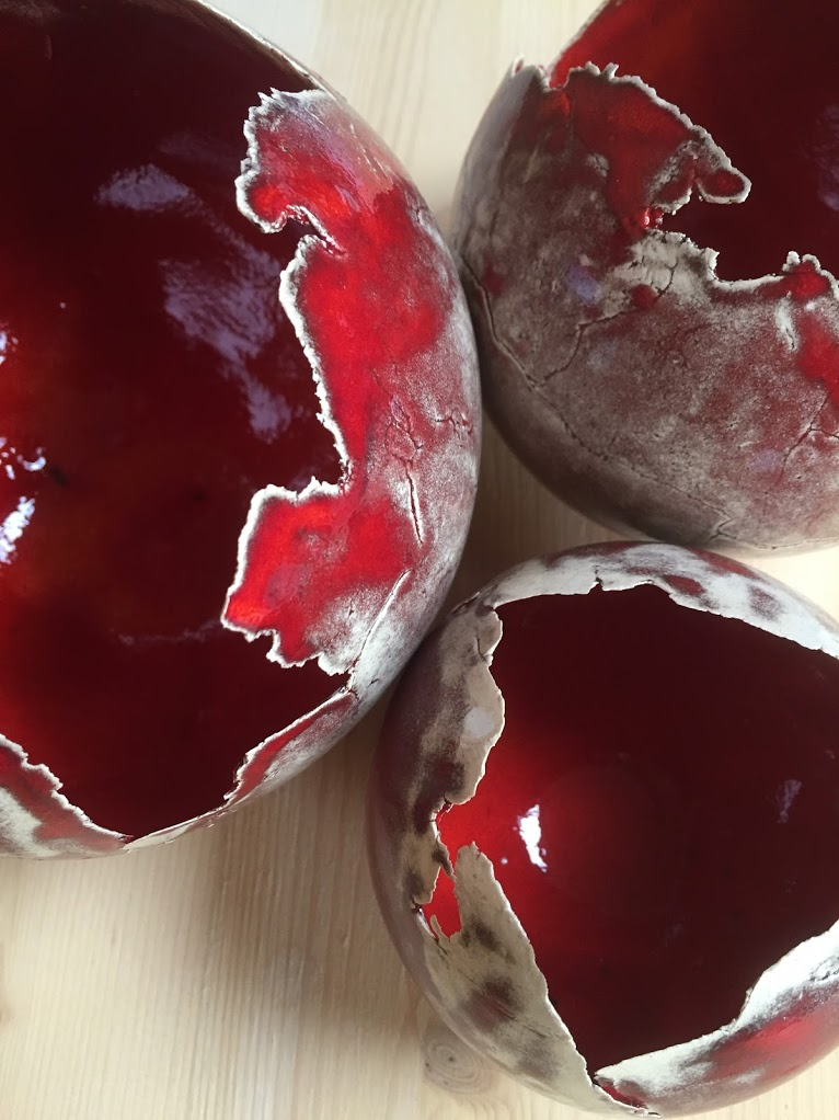 keramiekatelier de kleituin theelichtjes bollen rood